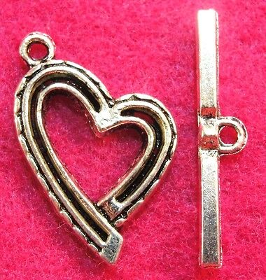 25//75 Sets Tibetan Silver Heart Toggle Clasp Connectors Jewelry Bracelet Making