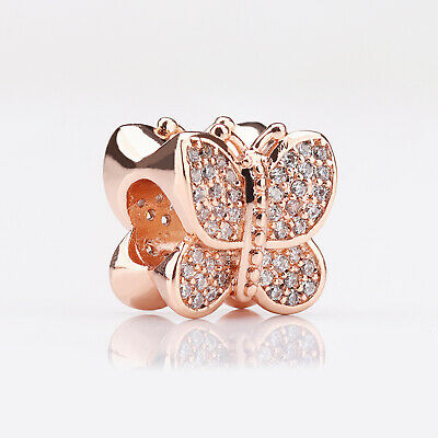 8bd76edd46450 AUTHENTIC PANDORA ROSE Gold Butterfly Charm #781257Cz, Gift Pouch + ...