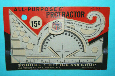 """NEW Vtg Sterling 644 Plastic Protractor French Curve 6"""" Ruler Circle Gauges Tool"""