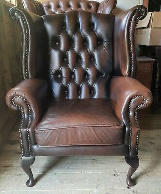 Antique Brown Leather Chesterfield Queen Anne Wingback Chair