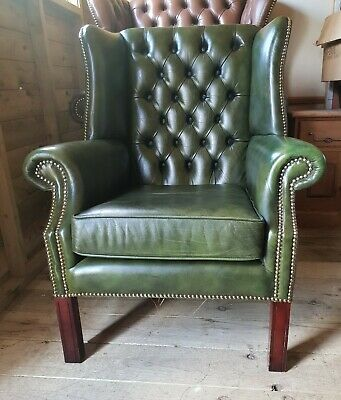 Antique Green Leather Chesterfield Queen Anne Chair