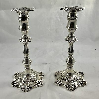 A Pair Of London Silver Candle Sticks London 1965 18th Century Style 20.5ozt
