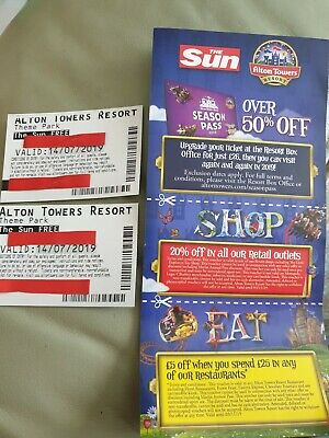 2 X Alton Towers paper Tickets Sunday 14th july 14/7/19 + more ( NOT E-TICKETS )