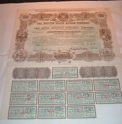 Antique British South Africa Company Beira Railway / Rhodesia Stock Certificate