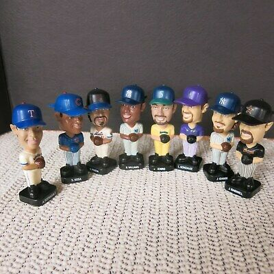Lot of 8 Post Cereal Baseball Mini Bobbleheads 2002 / A-Rod Piazza Sosa Ichiro +