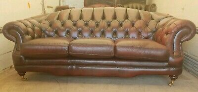 Thomas Lloyd Chesterfield Oxblood Leather 3 Seater Humpback Sofa