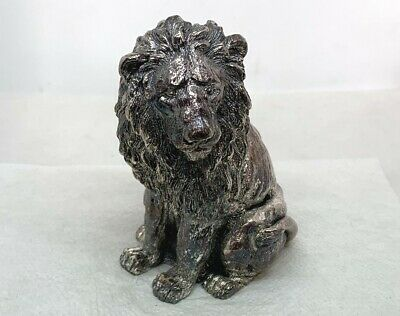 """Signed Alessandro Magrino Sterling Silver 925 Siting Male Lion Figure, 3.5"""""""