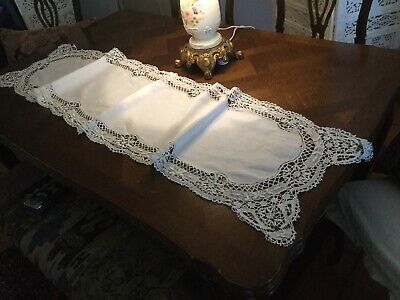 "Very Fine 62""x16"" Antique Handmade Linen Lace Table Runner Doily 2 Layer"