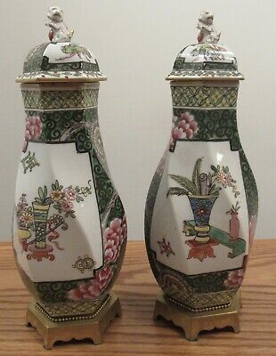 2/Pair antique Chinese twisted hexagon lidded vase painted famille rose flowers