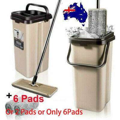 AU NEW Microfibre Flat Mop and Bucket Floor Cleaner Set with 6 Pads Wet Dry