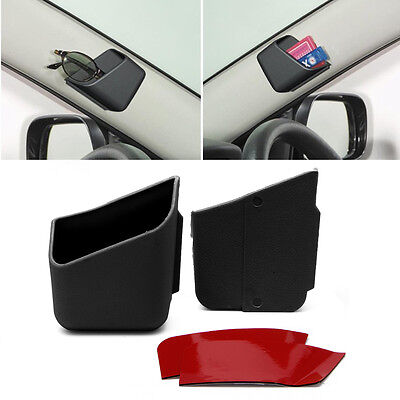 2pcs Universal New Auto Accessories Glasses Organizer Storage Box Holder Black