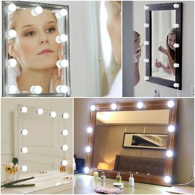 Hollywood Mirror Vanity LED Light Kit Beauty Makeup with 10 Bulbs Dimmer AU Plug