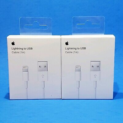 2 x Original Apple Lightning to USB 1m Charger Cable for iPhone 6s/Plus/5/SE