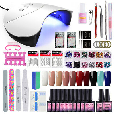 Pro Nail gel polish 10Pc Soak Off UV Gel Kit 36W Nail Lamp With Art Tools Set UK