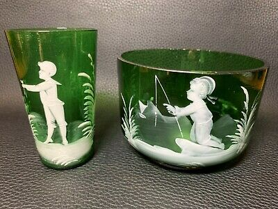19th Century Victorian Mary Gregory Enamel Decoration Art Glass Bowl and Cup