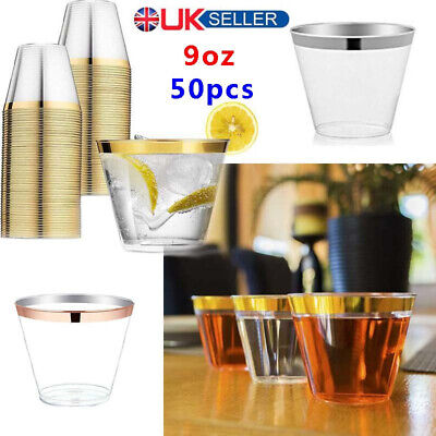 50x Disposable Rose Gold Rim Party Wine Glass Clear Hard Plastic Cups Tumblers