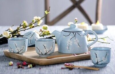 5pc Japanese Style Ceramic Cherry Blossom Tea Set with Strainer Infuser Sakura