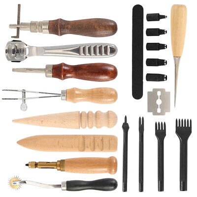 18Pcs Leather Craft Punch Tool Carving Stitching Sewing Saddle Working Hand Kit