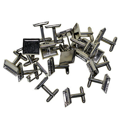 20pcs Silver Plated Blank Cuff Link Settings Base Cabochon Men Shirt Decors