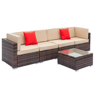 5PC Rattan Wicker Sofa Set Sectional Couch Cushioned Furniture Patio Outdoor