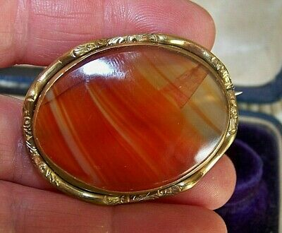Antique Victorian Jewellery Scottish Carnelian Agate Gold Pinchbeck Brooch Pin