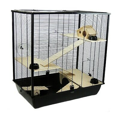 Pet Rat Hamster 78cm Cage Plaza - Small Pet Triple 3 Tiers Black - Brand New