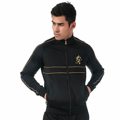 Mens Gym King Piped Poly Funnel Neck Top In Black Gold