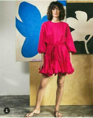 Occident Rhode Women Rose Red Thin Tie Lantern Sleeve Pleated Dress French style