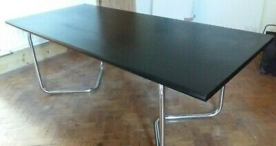 OMK  CHROME AND BLACK WOOD desk 70's industrial vintage modernist retro office