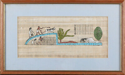 """Egyptian Old Hand Colored On Papyrus Paper """"The Life Of Woman """""""