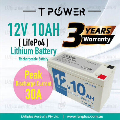 New 12V 10Ah LiFePO4 Lithium Rechargeable Battery w 12v1A battery charger