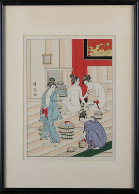 "Antique Japanese Ukiyo-e Woodblock Print ""Women's Bath House"""