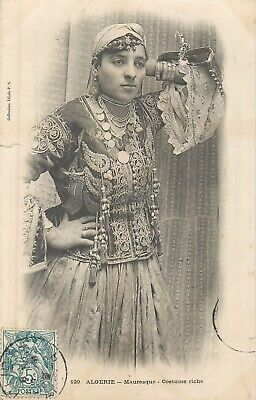 Cp Algerie Mauresque Costume Riche - Carte Endommagee
