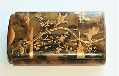 C1820 Japanese Spectacles Cigar Case With Applied Gold Paint, Excellent Cond.