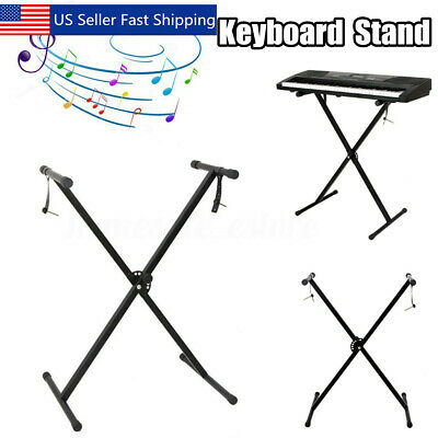 Black Keyboard Piano ''X'' Stand Electric Organ Rack Metal Height Adjustable