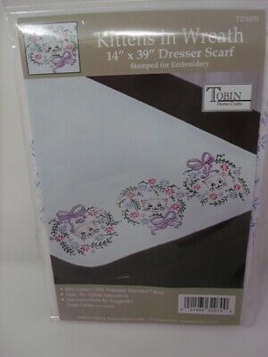 """Tobin Stamped Embroidery KITTENS IN WREATH 14"""" x 39"""" Table Runner Dresser Scarf"""