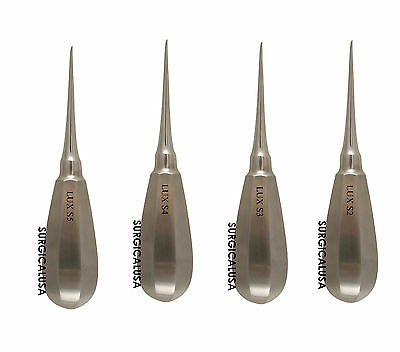 Starter Kit of 4 Luxators Elevators 2, 3, 4, 5mm Straight Tip Dental Instruments
