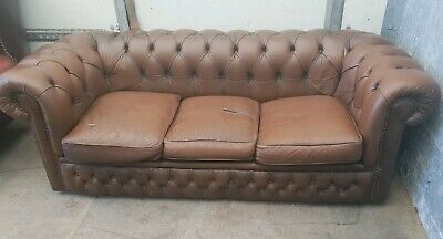 Antique Brown Leather Chesterfield 3 Seater Sofa Shabby Chic