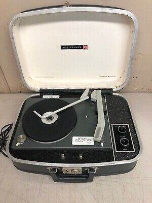 Vintage Columbia Masterwork M-2004 Portable Record Player in Case TESTED WORKING