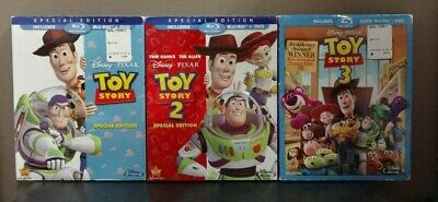 Toy Story 1, 2, & 3  (Blu-ray + DVD w/Slipcovers)    LIKE NEW