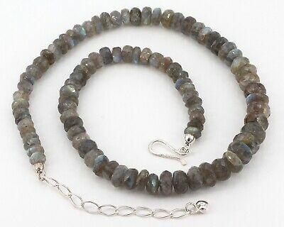 Jay King Sterling Graduated Faceted Labradorite Single Strand Beaded Necklace