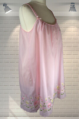 73797e9b3 Vintage Pink Embroidered Flower Power Babydoll Night Dress Nightie St  Michael