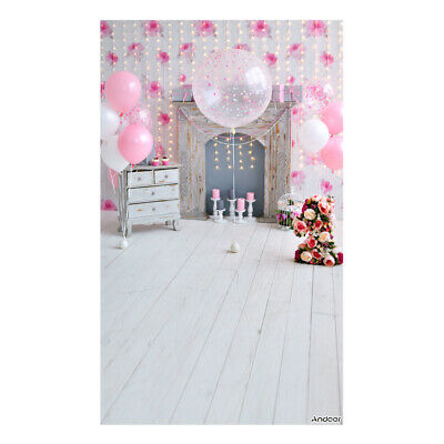 Andoer 1.5 * 0.9m/5 * 3ft Birthday Party Photography Background Pink L1M0