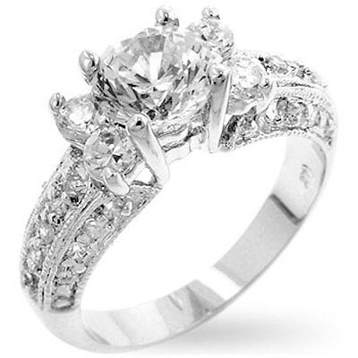 Silver Art Deco Engagement Ring Plated Cubic Zirconia Vintage Style Size 5 9 10