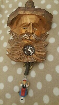 KITSCH unusual bearded mustache hipster SWISS CUCKOO CLOCK HAND MADE rustic