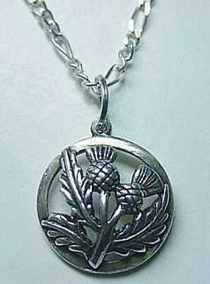 LOOK Celtic Thistle shamrock Real Sterling Silver .925 Charm Jewelry Pendant Iri