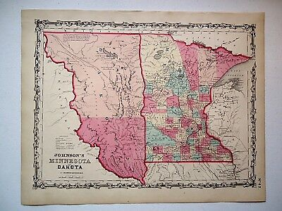 Vintage Authentic 1860 MAP ~DAKOTA TERRITORY - MINNESOTA ~ Old Antique Original