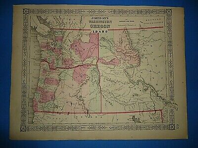 Vintage Circa 1860's WASHINGTON - IDAHO TERRITORY MAP Old Antique Original ~A