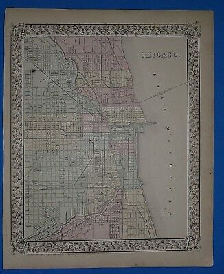 Vintage 1868 CHICAGO, ILLINOIS Atlas Map ~ Old Antique Original 10119
