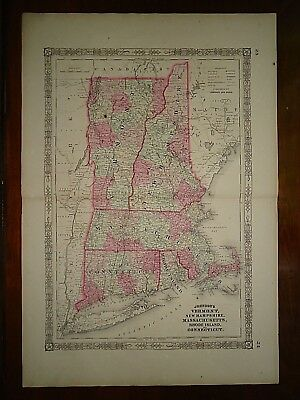 Vintage 1864 SOUTHERN NEW ENGLAND VT NH MA CT RI MAP Old Antique Original 82818